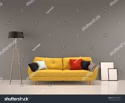 Yellow Interior by Living Room Gray Wall Yellow Sofainterior Stock Illustration