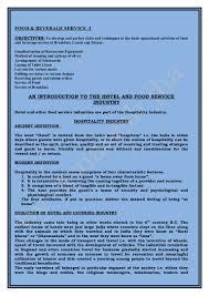 Food And Beverage Supervisor Job Description F U0026 B Service Introduction
