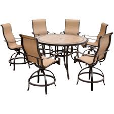 Swivel Dining Room Chairs Hanover Monaco 7 Piece Outdoor Bar H8 Dining Set With Round Tile