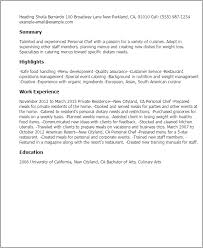 Sample Personal Resume by Professional Personal Chef Templates To Showcase Your Talent