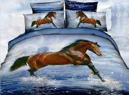 Girls Horse Bedding Set by New Arrival 3d Steed Horses In Water 4 Piece Bedding Sets On Sale