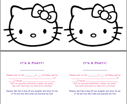 Printable Invitation Card Stock Defrump Me Hello Kitty Party Continued Free Printables