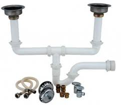 Kitchen Sink Plumbing Kit With Snappy Trap   Drain Double - Kitchen sink plumbing kit