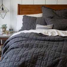 belgian flax linen quilted coverlet pillowcases slate west