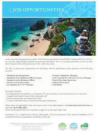 Food And Beverage Supervisor Job Description Ayana Resort And Spa Bali Linkedin