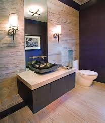 Tiny Powder Room Ideas Dark Brown Finish Rectangle Wooden Table Small Powder Room Designs