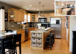 kitchen beige wall themes and brown wooden oak cabinet and