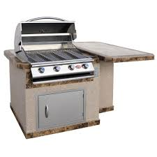 cal flame 4 ft stucco grill island with 4 burner stainless steel