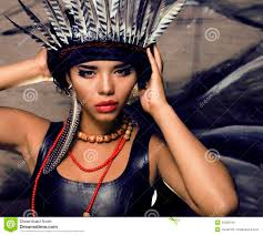 Indian Halloween Makeup Young Pretty Woman With Make Up Like Red Indian Stock Photo