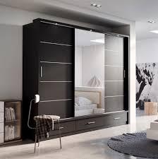 Sliding Door Wardrobe Designs For Bedroom Indian Sliding Door Wardrobe Arti 1 With A Mirror 250cm Black Matt