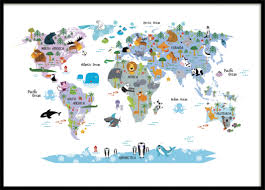 Kids World Map Children U0027s Poster With A World Map Posters For Kids