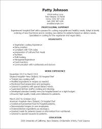 Objectives For Resumes Examples by Professional Hospital Chef Templates To Showcase Your Talent