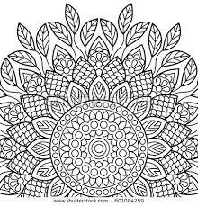 Indian Flower Design Mandala Background Invitation Card Vintage Pattern Stock Vector