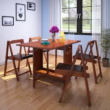 hometown compact folding solid wood 4 seater dining set price in