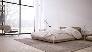interior inspiring minimalist design with low profile bed and