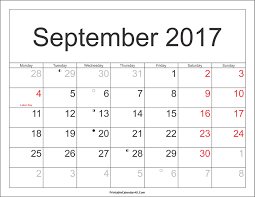 september 2017 calendar printable template with holidays pdf
