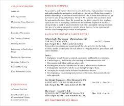 Car Sales Consultant Job Description Resume by Automobile Resume Template U2013 22 Free Word Pdf Documents Download