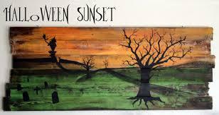 halloween wall art running with scissors fence wall hanging halloween sunset