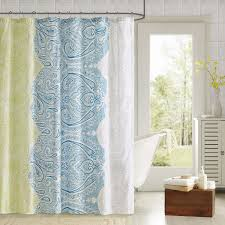 bathroom floral ikat shower curtain with orange mint pattern for