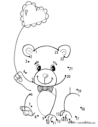 teddy bear u0026 heart balloon printable connect the dots game dot