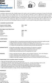 Medical Clerk Resume Sample by Free Sample Receptionist Resume