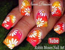 Robin Moses Nail Art by Robin Moses Nail Art Diy Hand Painted Neon Flower Nail Art Design