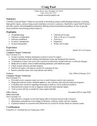 Resume Sample Of Retail Sales Associate by Best Computer Repair Technician Resume Example Livecareer