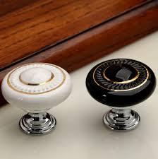 dresser knob drawer knobs pulls handles white gold ceramic kitchen