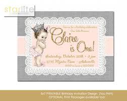 1st birthday princess invitation blush pink gold vintage baby princess 1st birthday invitation