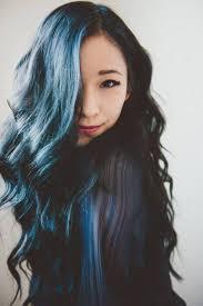 black hair dip dyed blue hair and model