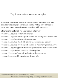 Personal Trainer Resume Example No Experience by Top 8 Emr Trainer Resume Samples 1 638 Jpg Cb U003d1433498476 5
