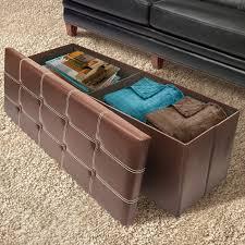 faux leather folding storage ottoman chest bench sorbus