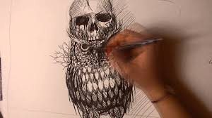 watch me draw tattoo owl with skull youtube