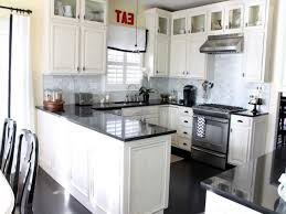 Antique Painted Kitchen Cabinets Modern Style Antique White Kitchen Cabinets With Black Appliances