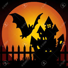 halloween night haunted house with bat royalty free cliparts