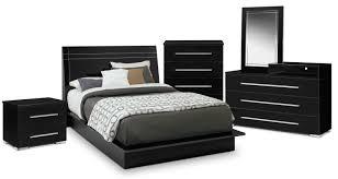 dimora 7 piece queen panel bedroom set with media dresser black