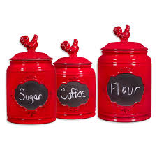 vintage red rooster chalkboard canister set of 3 at home at home