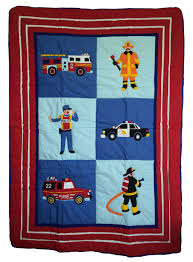 rescue heroes fire truck police car toddler crib bedding 4pc