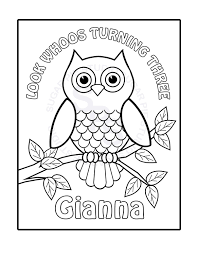 personalized printable owl birthday party favor childrens kids