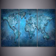 World Map Canvas by 3 Panel Wall Art Blue Abstract World Map Print On Canvas Ash