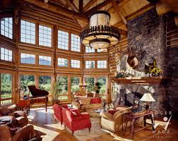 example of a coastal open concept family room design in milwaukee photography of luxury log home lodge great room looking out windows bigfork mt log cabin interior gallery