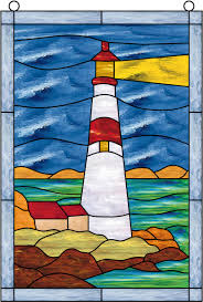 Decorative Lighthouses For In Home Use Window Film Stained Glass Lighthouse Sky Water Pictures To
