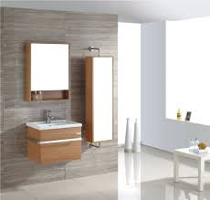 bathroom modern lighted mirror cabinet with standalone sink and