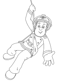 fireman sam is hero cartoon coloring pages for kids printable
