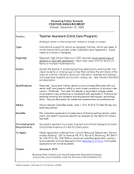 Sample Teacher Assistant Resume by Sample Resume For Daycare Teacher Free Resume Example And