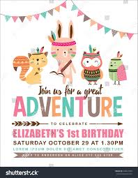 Birthday Invitation Cards For Kids Kids Birthday Invitation Card Cute Cartoon Stock Vector 450937900