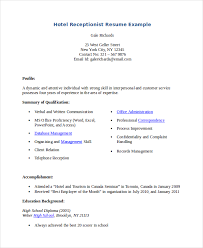 Sample Of Receptionist Resume by Receptionist Resume Template 7 Free Word Pdf Document Download