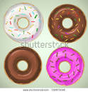 picture of four assorted donuts in a vector clip art illustration picturesof.net