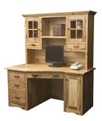 Solid Oak Office Furniture by Amish Rustic Mission Wedge Computer Desk Hutch Cpu Cabinet Wood