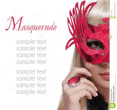 fashion with carnival mask and red ring over white background